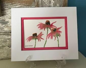 Painting of a Trio of Pink Coneflowers-Echinacea-Floral-Watercolor Painting-Coneflowers Painting-Flowers-Gardener