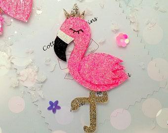 Flamingo hair Clip, Handmade pink Glitter and Felt Flamingo Barrette, hair slide, flamingo brooch pin