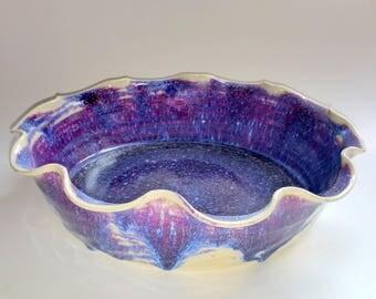 Purple Blue & Magenta Fluted Pie Pan - Pie Plate - Full Sized Pie Pan  - Dish - Wheel Thrown Pottery