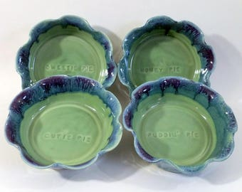 Small Fluted Pie Pan - Brie Baker - Pie Plate - Single Serve - Baking Dish - Imprinted with Cute Pie Phrases - Wheel Thrown Pottery