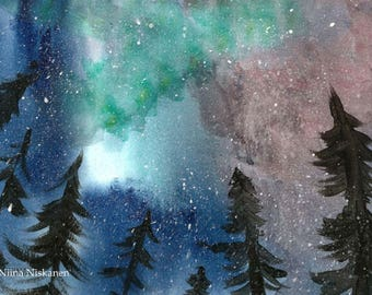 Northern Lights Yuletide Greeting Card Christmas Winter Solstice Watercolor Winter Landscape