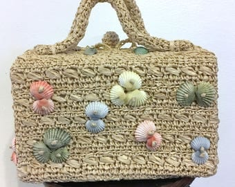 50s Handbag Raffia Purse with Shells Ritter Purse Made in Japan Beach Party Pinup