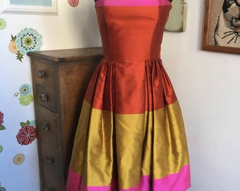 Vintage Guy LaRoche Silk Dupioni Dress and Bolero, Colorblock Pink Orange Gold 1980's Style Boutique Made in France