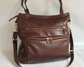 Leather willow bag in russet brown