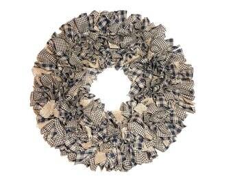 Black & Tan Rag Wreath, Black Tan Wreath, Country Wreath, Fabric Wreath, Black Wreath, Rag Wreath, Wreath, Burlap Wreath, Door Wreath