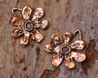 Two Copper Bronze Artisan Flower Charms,  CH-477, CB/2