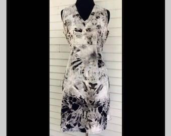 Microscope Dress - XS-S - Womens Dress, fair trade cotton, black and white, shibori, tie back, simple cotton dress, fair trade, sleeveless