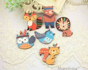 Vintage Indian animals Wood Charms, Laser Cut Wooden Woodland Animals  Pendants