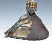 Seated Kwan Yin Goddess Kannon Statue in Shimmering and Earthy Raku Robe