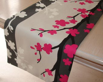 "60"" Table Runner 150cm 5ft Nordic Tree Design Fuschia Pink Black Charcoal Grey Cream White Fuchsia NEW Hot Bright Pink Trees"