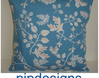 """Leaf Pillow Cover 24x24 Throw Cushion 24"""" Case Sham Slip NEW Orange White and Blue Abstract Leaves"""