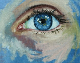 Eye 4 6x6 inch original portrait figure oil painting by Roz