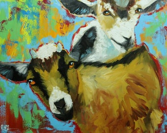 Goats portrait painting 2 24x30 inch original oil painting by Roz