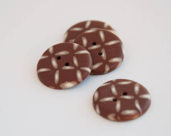 25 mm patterned multicolored handmade Buttons, Set of 4, Chocolate color