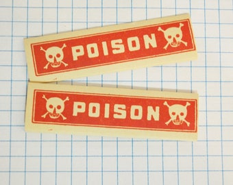 Vintage Pharmacy Labels  Red Vintage Pharmacy Poison  Labels