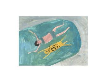 Giclee Art Print || Hyena and Girl Swimming || FAYE MOORHOUSE
