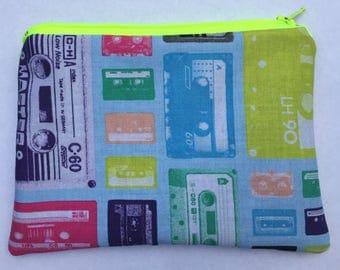 Cassette Tapes Zipper Pouch: Retro, Music, Technology.