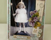 Birthday Wishes Dear One Collage card,handmade card