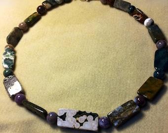 Ocean Jasper silver wire necklace