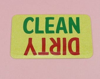 DISHWASHER SIGN Clean Dirty Magnet Dish Washer Metal Aluminum Yellow Green Red