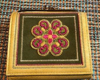 vintage princess gardner cowhide bifold wallet embroidered gold
