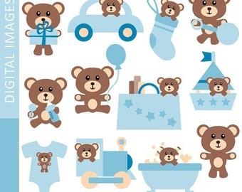50% OFF SALE Clipart Baby Boy Teddy Bear 07356.. Commercial use clip art