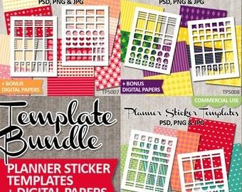 DIY Planner Sticker Template Bundle Sale / Commercial use / Printable stickers Erin Condren Vertical Blank Templates / Mardi gras, Valentine