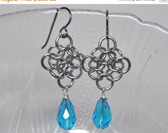 Chain Maille Earrings,  Dangle Earrings,  Aluminum Rings,  Swarovski Crystals,  Niobium Ear Wires