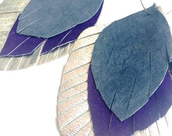 Leather Feather Earrings in silver, purple and lavender - recycled leather - upcycled, feather earrings, leather feathers, leather earrings
