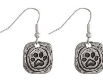 Silvertone Pawprint Earrings