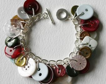 Button Bracelet Autumn Fall Moss Green Berry Red Pearl