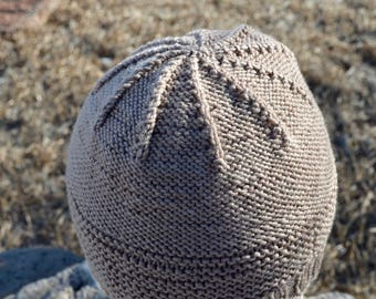 Hand Knit January Beanie - Earthy Neutral Taupe Hand Knit Hat with Earflap Shapingin 100% Wool. Unisex, Men, Women, Handknit Original Design