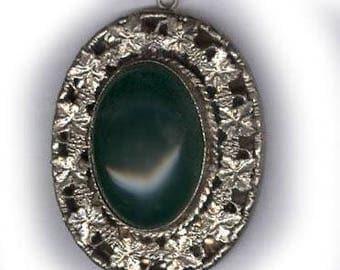 vintage CZECH FOCAL PENDANT antique czech glass deep green pendant set in rhodium plated filigree brass setting