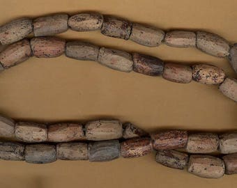 vintage trade beads, african, clay, old trade lovely patina, entire strand clay FORTY ANTIQUE beads