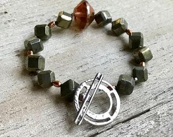 Pyrite and Sterling Silver Minimalist Geometric Beaded  Bracelet  Urban Industrial For Her Under 150 Free US Shipping Gift Wrap