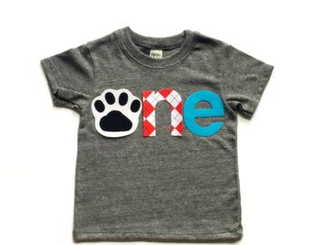 o n e //First Birthday//Dog Theme// Puppy Dog//Fabric Iron On Applique Letters//Other Numbers Available//TWO NEW DESIGNS