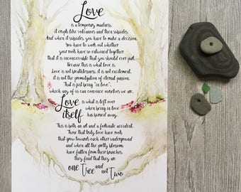 Love poem one tree not two Love is a temporary Madness option 1