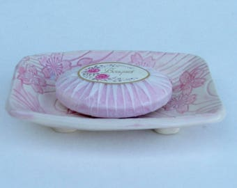 Ceramic Soap Dish, Footed, Handmade,  Pink Sakura