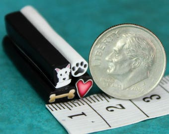 WESTIE Set of 4 Polymer Clay ITTY-BITTY Canes, One Inch Length -'Puppy Love' (mm)