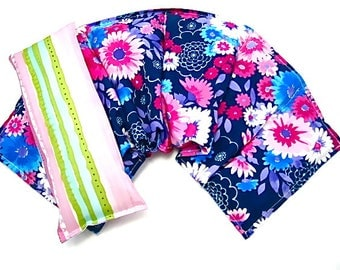 Extra Wide Neck Shoulder Wrap /Eye Pillow Set, Hot Cold Therapy, , Microwavable,Heat Pack,Heating Pad Gift Idea Holiday For Her