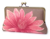 Waterlily clutch bag, pink lotus purse for wedding, bridal bag, bridesmaid gift ON SALE