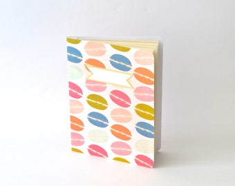Macarons Summertime Notebook, Colorful Macarons Diary, Handbound Blank Journal, Softcover Notebook