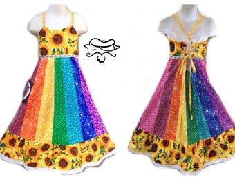 Girls Sunshine Daydream Dress, Girls Rainbow Spinner Dress, Hippie Handmade Patchwork Custom Made Dress- dancing bear dress, Grateful Dead