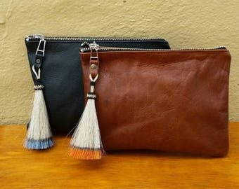 Soft black leather horsehair tassel  clutch