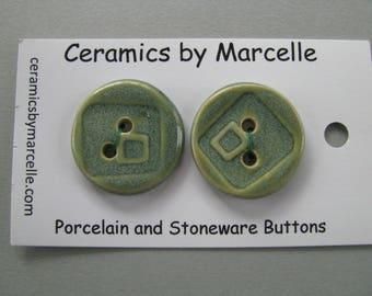 Pair of Jade Green Ceramic Textured Buttons