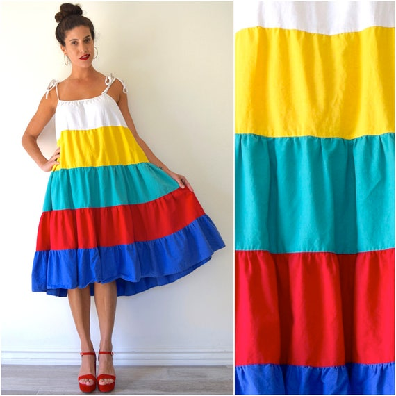 SUMMER SALE / 20% off Vintage 70s Rainbow Tiered Cotton Oversized Midi Tent Dress with Shoulder Ties