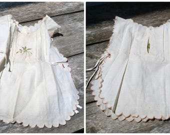 Vintage Antique 1910/1920s  French Edwardian Prairie apron dress for girl or doll  embroidered cotton size 1/2 years