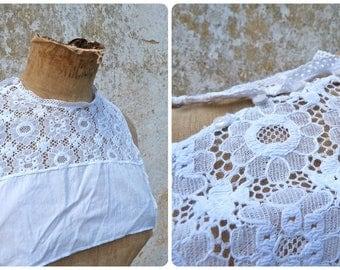 Vintage Antique 1900 French Edwardian white cotton & lace collar plastron