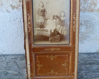 Vintage Antique Victorian 1890 French leather and gild paper photo frame  /gorgeous children sepia photography