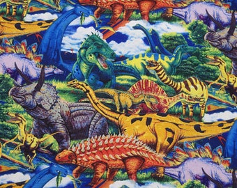 Age of the Dinosaurs, Multi, Fabric by David Textiles 100% Cotton,  by the yard